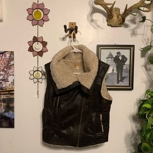 NWT Sherpa Lined Pleather Vest